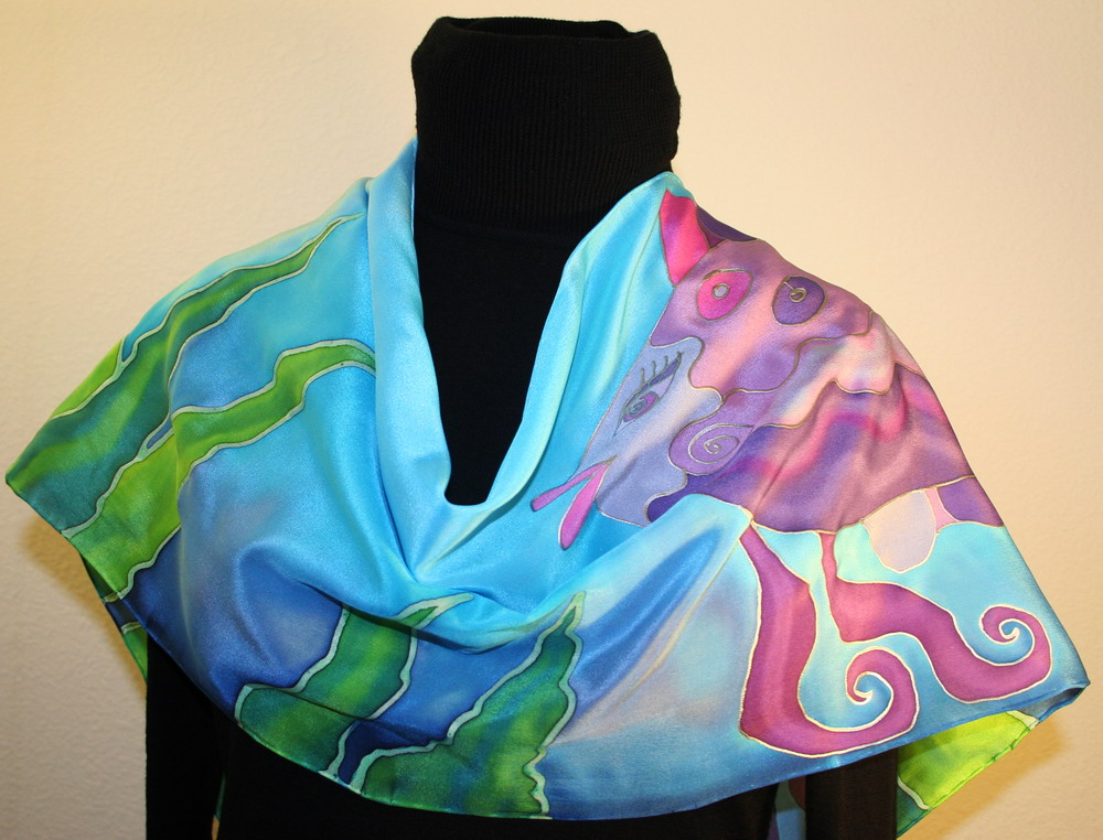 featured silk scarves and accessories purple fish