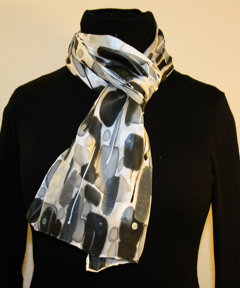 featured silk scarves and accessories black white and