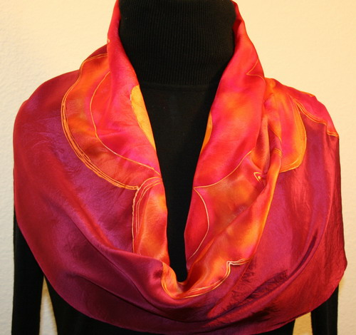 featured silk scarves and accessories crimson flowers