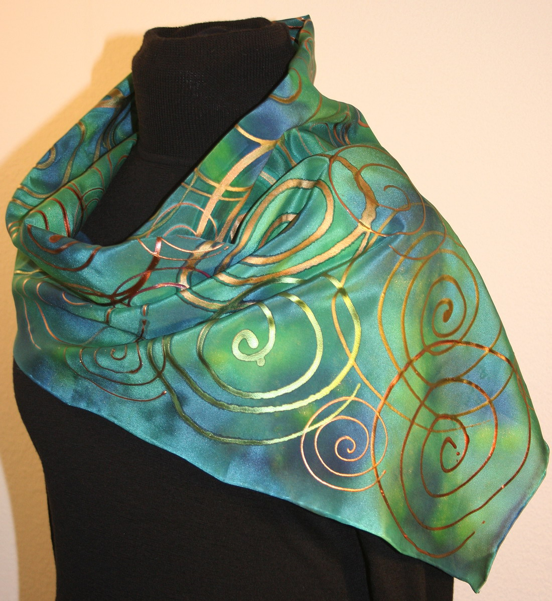 Featured silk scarves and accessories - Green and Blue Hand Painted ... 18817274d6a