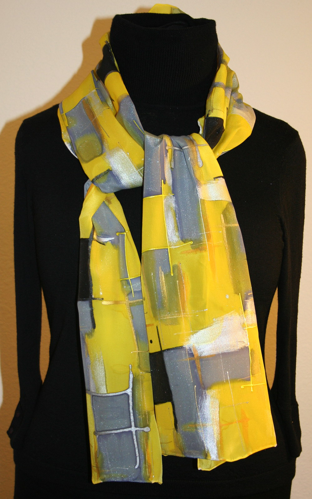 featured silk scarves and accessories yellow and gray