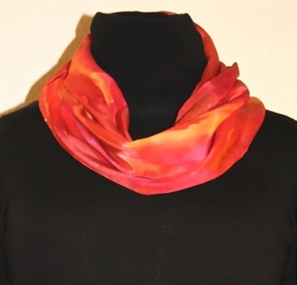 Red and Orange Silk Scarf with Golden and Bronze Accents