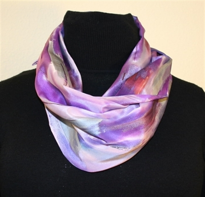 Multicolored Silk Scarf in Hues of Purple with Silver Accents