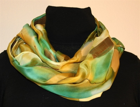 Green, Beige and Brownish Brush Strokes Silk Shawl with Bronze Accents