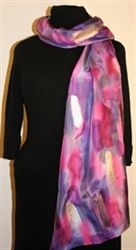 Purple, Violet and Pink Brush Strokes Silk Shawl with Silver Accents