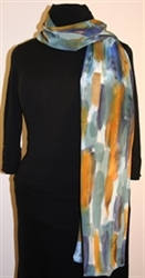 Blue and Brown Brush Strokes Silk Scarf with Bronze Accents