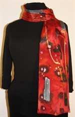 Red and Black Galaxy of Colors Silk Scarf