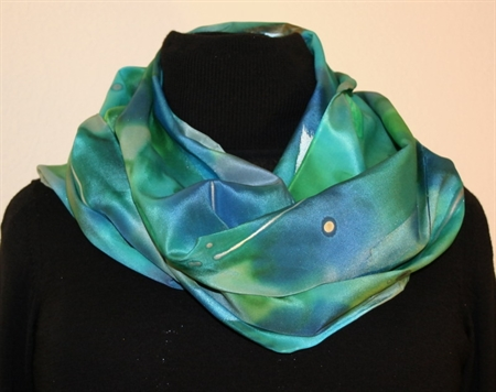 Multicolored Splash Silk Scarf in Green and Blue with Silver Accents