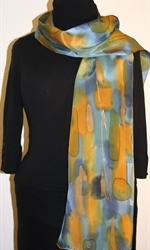 Multicolored Splash Silk Scarf in Green, Blue and Ocher, with Bronze Accents - photo 1