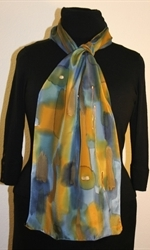 Multicolored Splash Silk Scarf in Green, Blue and Ocher, with Bronze Accents - photo 2
