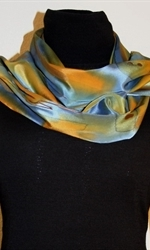 Multicolored Splash Silk Scarf in Green, Blue and Ocher, with Bronze Accents - photo 3