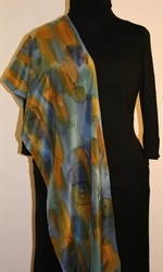 Multicolored Splash Silk Scarf in Green, Blue and Ocher, with Bronze Accents - photo 4