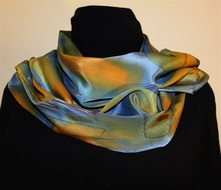 Multicolored Splash Silk Scarf in Green, Blue and Ocher, with Bronze Accents