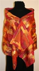 Multicolored Splash Silk Shawl in Red, Orange and Fuchsia, with Bronze Accents