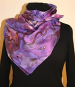 Color Splash Square Silk Scarf in Hues of Purple