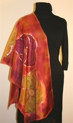 Multicolored Silk Shawl in Burgundy and Brick with Four Flowers - photo 4