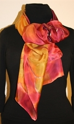 Multicolored Silk Shawl in Burgundy and Brick with Four Flowers - photo 2