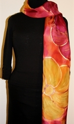 Multicolored Silk Shawl in Burgundy and Brick with Four Flowers - photo 1