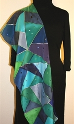 Triangles and Dots Silk Scarf in Hues of Blue and Green - photo 4