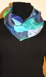 Triangles and Dots Silk Scarf in Hues of Blue and Green - photo 3