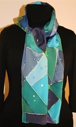 Triangles and Dots Silk Scarf in Hues of Blue and Green - photo 2