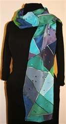 Triangles and Dots Silk Scarf in Hues of Blue and Green