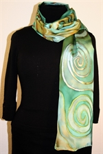 Silk Scarf in Hues of Green with Metallic Twirls