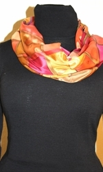 Silk Scarf with Checkered Pattern in Hues of Brown, Burgundy and Orange - photo 3