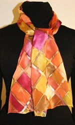 Silk Scarf with Checkered Pattern in Hues of Brown, Burgundy and Orange - photo 2