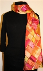 Silk Scarf with Checkered Pattern in Hues of Brown, Burgundy and Orange - photo 1