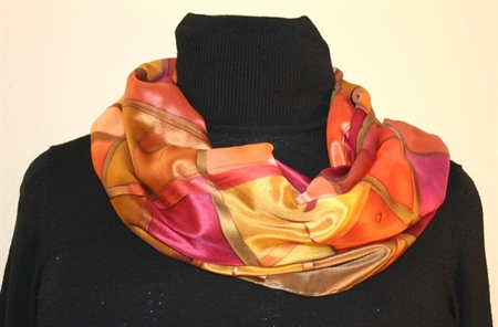 Silk Scarf with Checkered Pattern in Hues of Brown, Burgundy and Orange