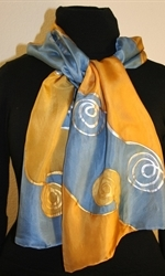 Silk Scarf with Spirals and Waves in Blue and Golden - photo	4