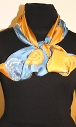 Silk Scarf with Spirals and Waves in Blue and Golden - photo	3