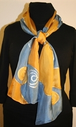 Silk Scarf with Spirals and Waves in Blue and Golden - photo	2