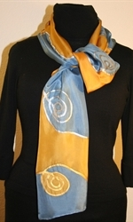 Silk Scarf with Spirals and Waves in Blue and Golden - photo	1