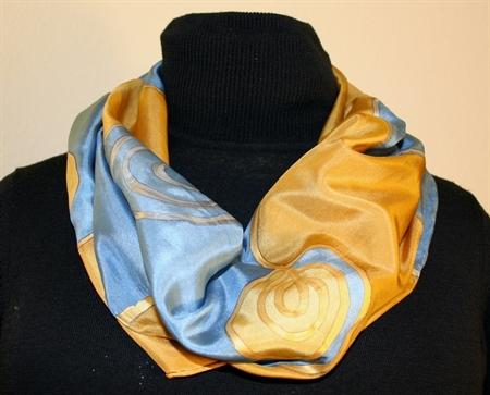 Silk Scarf with Spirals and Waves in Blue and Golden