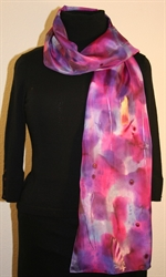 Multicolored Silk Scarf in Pink, Fuchsia and Purple with Metallic Accents
