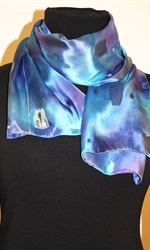 Multicolored Silk Scarf in Hues of Blue and Purple, with Silver Accents - photo 4