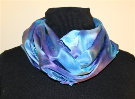 Multicolored Silk Scarf in Hues of Blue and Purple, with Silver Accents