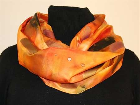 Multicolored Splash Silk Shawl in Yellow and Orange, with Metallic Accents