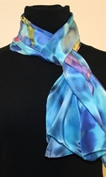 Silk Scarf with Five Tulips on a Dappled Background in Hues of Blue - photo 4