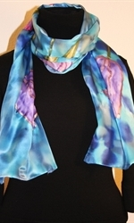Silk Scarf with Five Tulips on a Dappled Background in Hues of Blue - photo 3