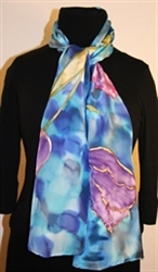 Silk Scarf with Five Tulips on a Dappled Background in Hues of Blue