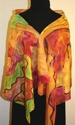 Multicolored Silk Shawl in Earth Colors - photo 4