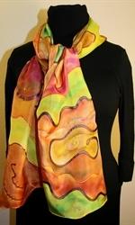 Multicolored Silk Shawl in Earth Colors - photo 2