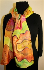 Multicolored Silk Shawl in Earth Colors