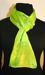 Silk Scarf in Bright Hues of Green and Lime - photo 4