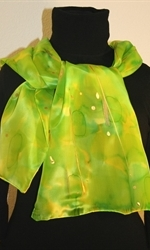 Silk Scarf in Bright Hues of Green and Lime - photo 3