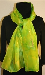 Silk Scarf in Bright Hues of Green and Lime - photo 2