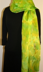 Silk Scarf in Bright Hues of Green and Lime - photo 1
